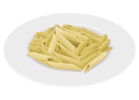 plato pasta: Plato de pasta macarrones en el fondo blanco