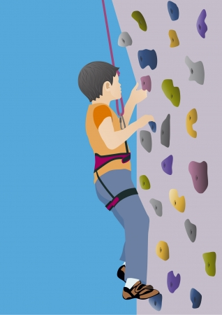 rock climbing: Boy climbing artificial rock Illustration