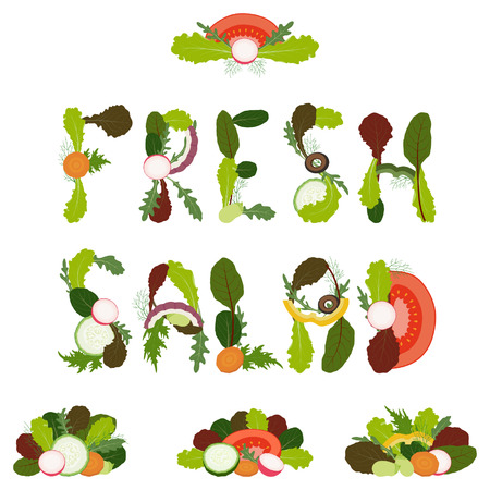 ailment: Words fresh salad written with sliced vegetables and mixed salad leaves on white