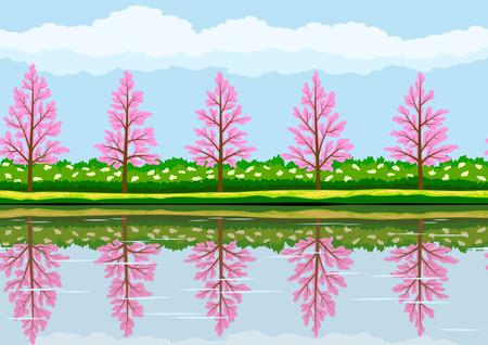peach blossom: Spring landscape pattern