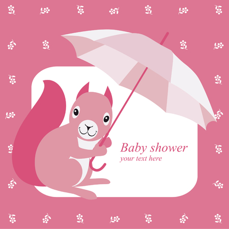 brolly: Baby shower invitation with pink squirrel and brolly