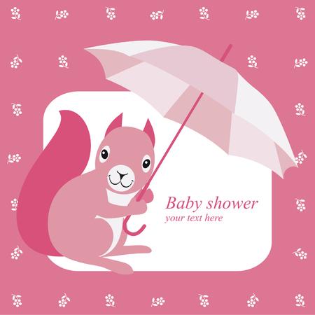 brolly: Invitaci�n de la ducha de beb� con la ardilla de color rosa y paraguas