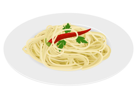 Spaghetti pasta with chili and parsley on white background Vector