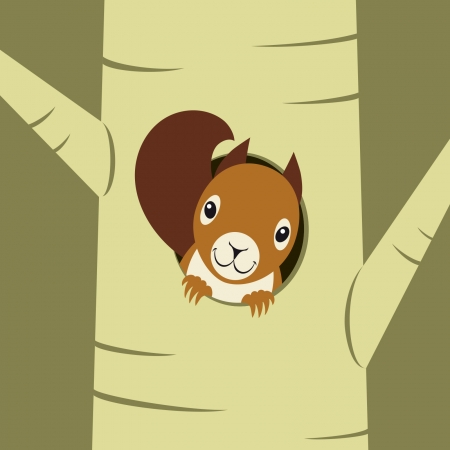 Squirrel Peeking Out Of Nest Hole On The Tree Royalty Free Cliparts Vectors And Stock Illustration Image 24954216