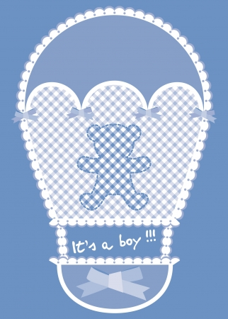hot announcement: Aviso de la tarjeta azul con globo de aire caliente y oso de peluche