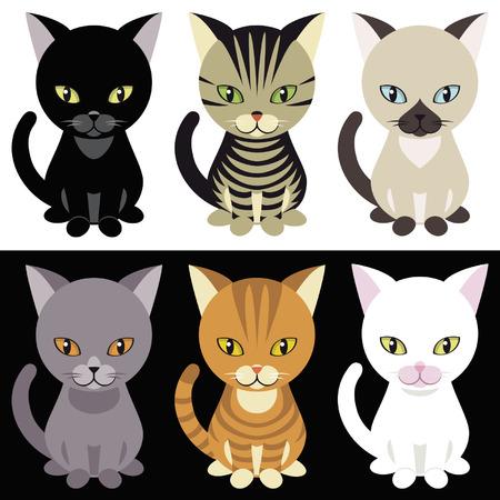 Kittens mascotte on white and black background Ilustração