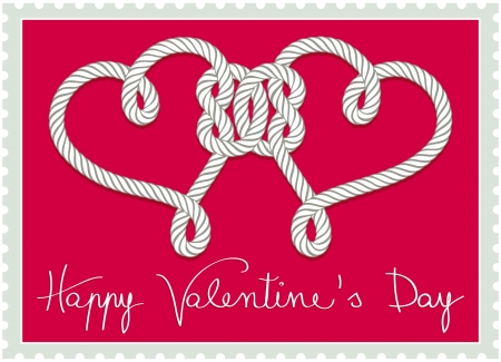 knotted rope: Stamp with hearts knotted rope