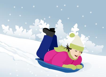 sledding: Sledding in the snow
