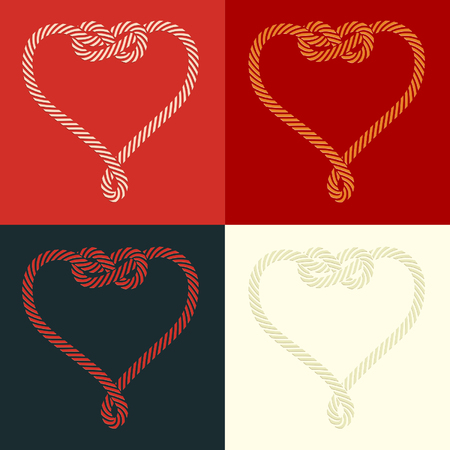 Rope heart shaped with knot set Vector