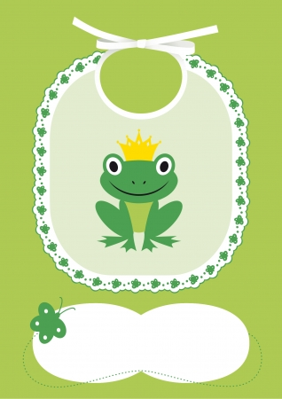 Baby card announcement with bib and frog