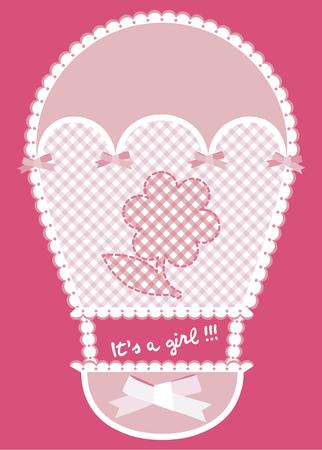 hot announcement: Aviso de la tarjeta rosa con globo de aire caliente y la flor Vectores