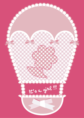 hot announcement: Baby pink card announcement with hot air balloon and flower