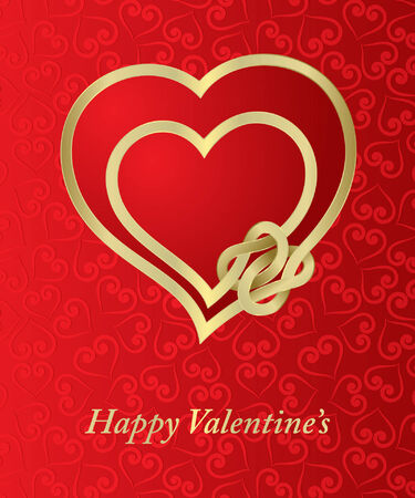 knotted: Valentine card with  knotted hearts