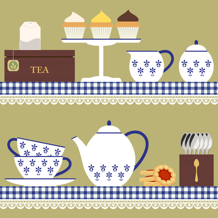 Tea set with teabag, cupcake and cookies Illustration