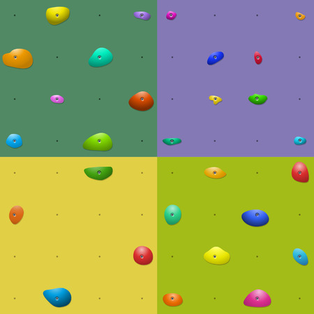 climbing wall: Four colorful climbing wall holds patterns Illustration