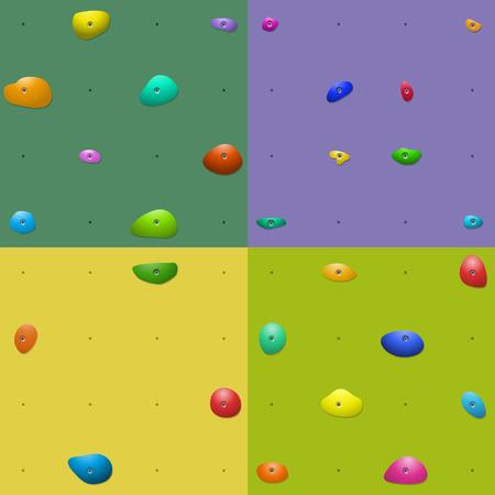 Vier bunte Kletterwand hält Muster