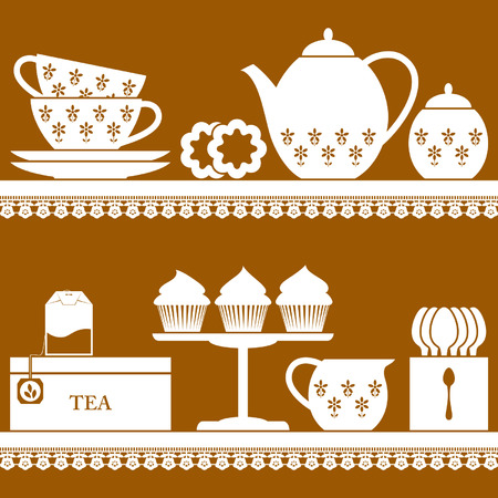 Plain coloured tea set with tea bag, cupcake and cookies Vector