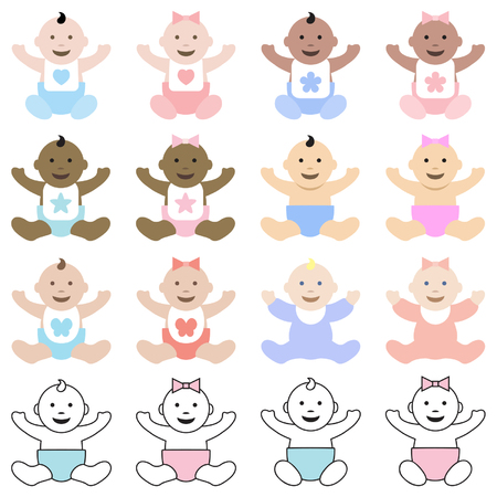 chit: Collection of babies sitting and happy