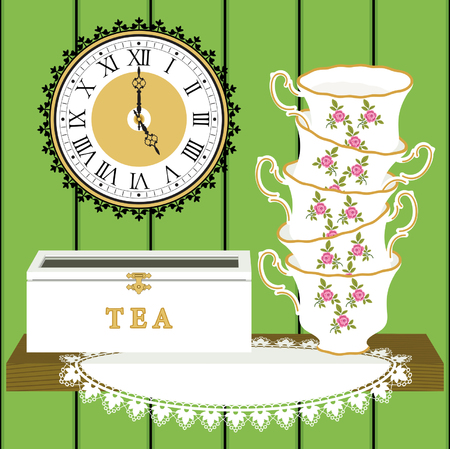 teatime: Stack of cups with tea box on doily, and clock