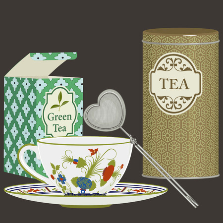 infuser: Tea cup with saucer, infuser and tea boxes Illustration