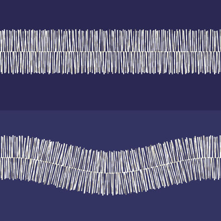 argent: Two silver tinsel patterns on blue background