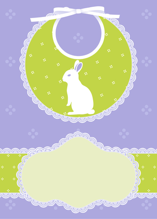 Baby card announcement with bib and white rabbit Vector