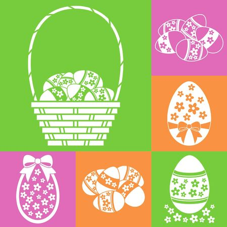 gift basket: Easter eggs set with basket, flowers and bows Illustration
