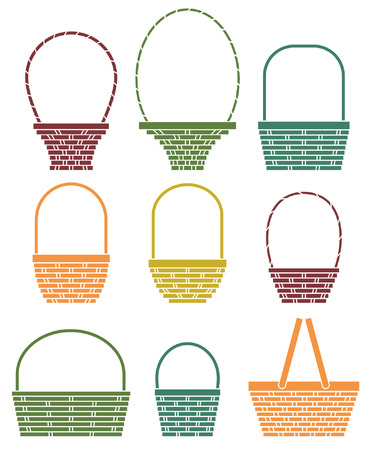 gift basket: Stylized baskets isolated on white background Illustration