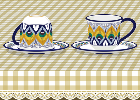 earthenware: Two tea cups with saucer on checkered tablecloth Illustration