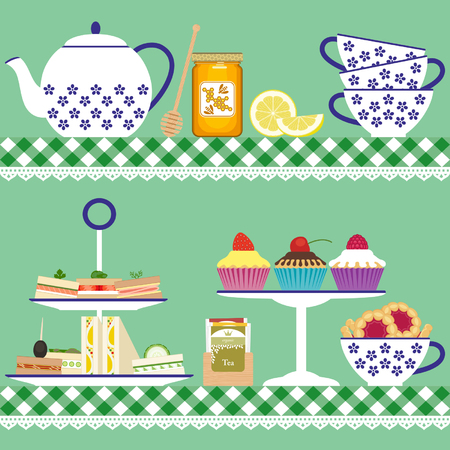 tea set: Tea set with tea cups, teapot, sandwiches, cupcakes, cookies, lemon, tea bags and honey jar Illustration