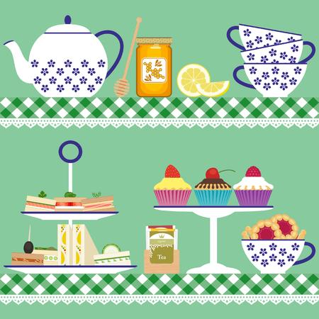 stand teapot: Tea set with tea cups, teapot, sandwiches, cupcakes, cookies, lemon, tea bags and honey jar Illustration