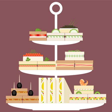 Assorted finger food and sandwiches on three tier stand Vector