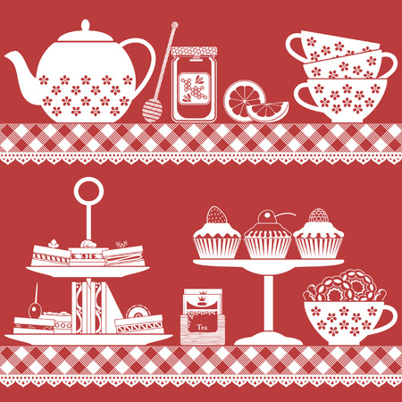 tea set: Plain colored tea set with tea cups, teapot, sandwiches, cupcakes, lemon, tea bags and honey jar Illustration