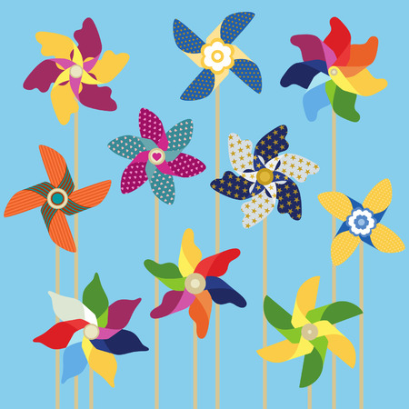 pinwheels: Pinwheels collection on sky blue background Illustration