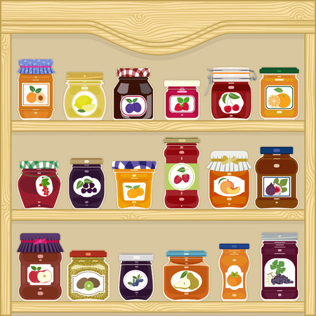 Jars of homemade jam with labels in the cupboard Ilustracja