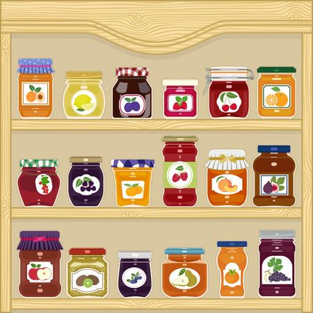 Potten van zelfgemaakte jam met labels in de kast Stock Illustratie
