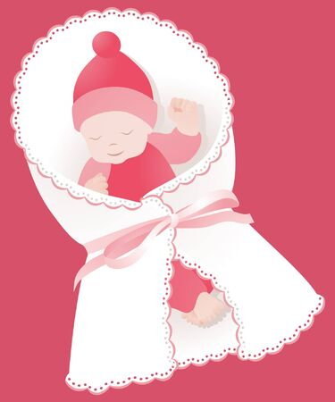 wrap wrapped: Wrapped newborn with ribbon and lace on pink Illustration
