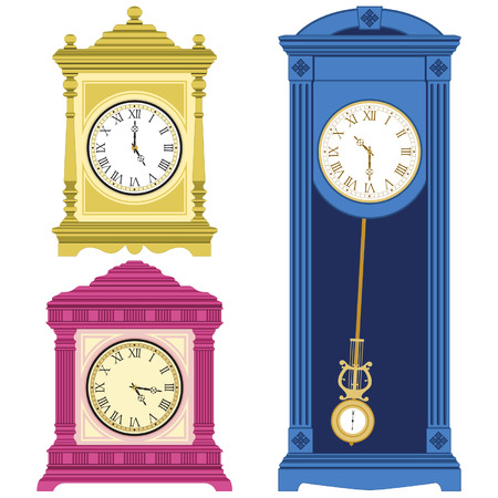 mantel: Set of old style clocks isolated on white background