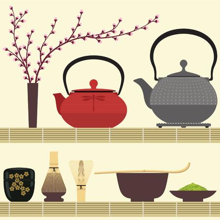Matcha tea time avec des accessoires sur le tapis de bambou