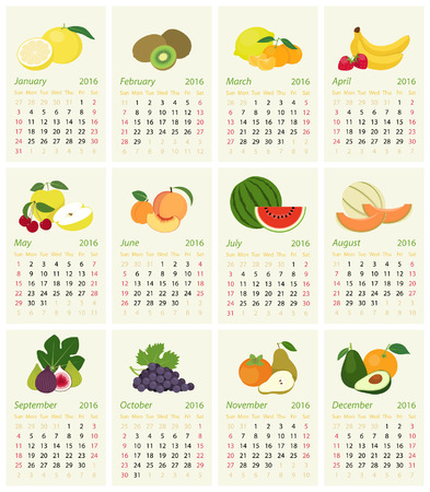 event calendar: English calendar for 2016 with fruit of the month