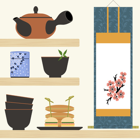 snack time: Oriental tea time with teapot, cups, hanging scroll and snacks