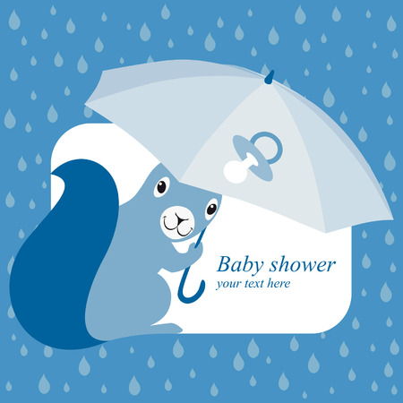 brolly: Baby shower invitation with blue squirrel and brolly