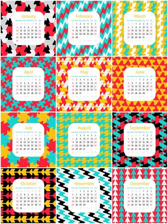 time of the year: English calendar for 2016,  square months start with sunday Illustration