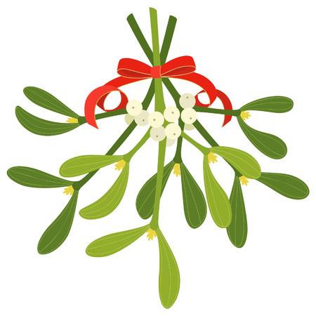 Maretak met rode boog en krullend lint, geïsoleerd op witte achtergrond Stock Illustratie
