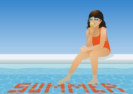 poolside: Girl in swimsuit eating ice cream at the poolside Illustration