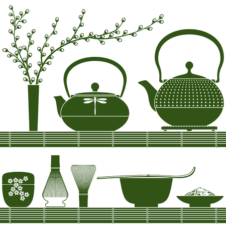 Plain colored accessories for matcha tea time