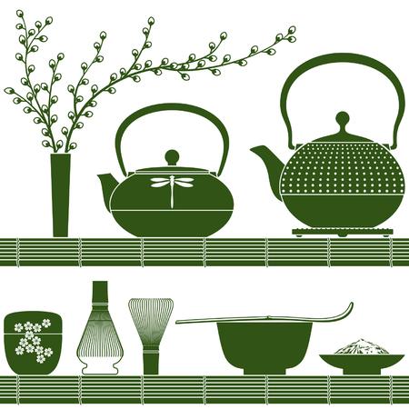 tea ceremony: Plain colored accessories for matcha tea time