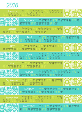 horizontal: Horizontal calendar for 2016, and monthly Inglese Illustration
