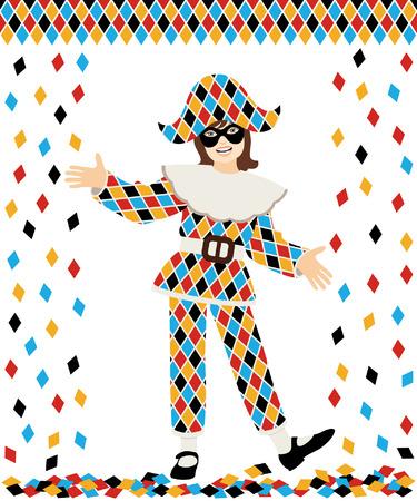 arlecchino: Ragazza con il costume di Arlecchino e coriandoli su sfondo bianco Vettoriali
