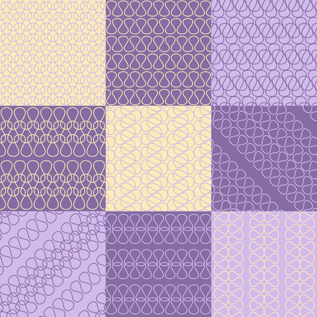patterns and colors: Patterns set of twist lines style, violet colors Illustration